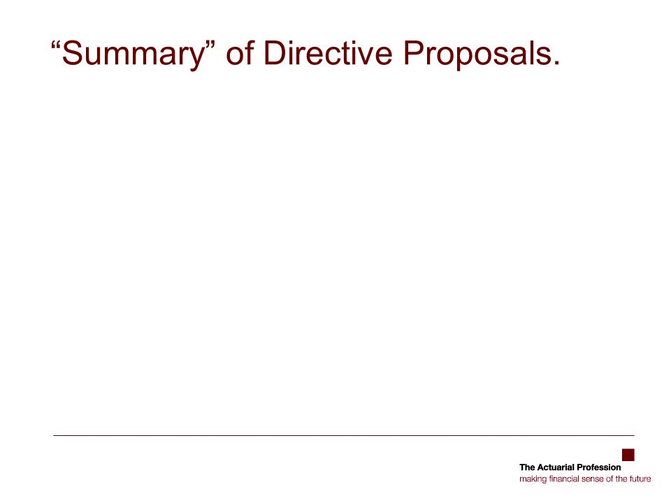 Summary of Directive Proposals.