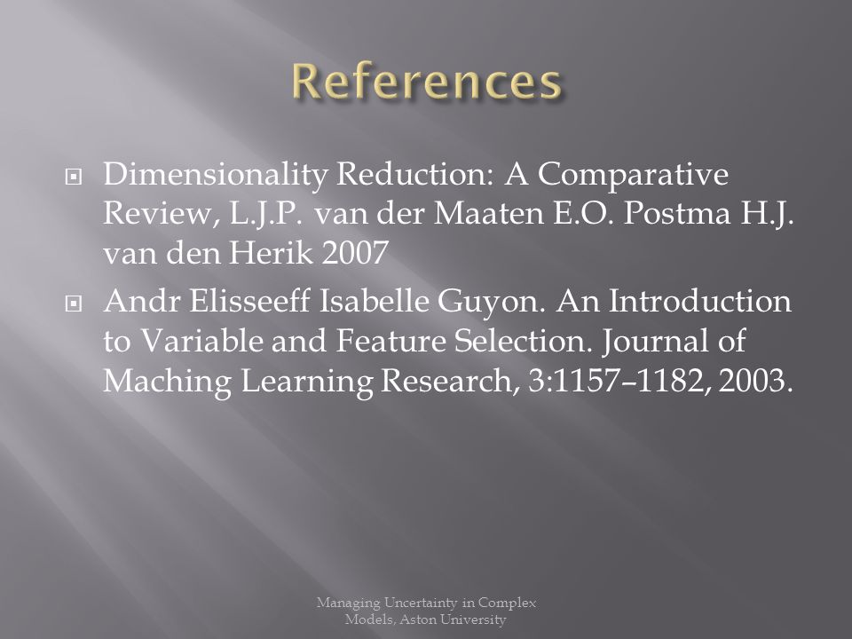 Dimensionality Reduction: A Comparative Review, L.J.P.