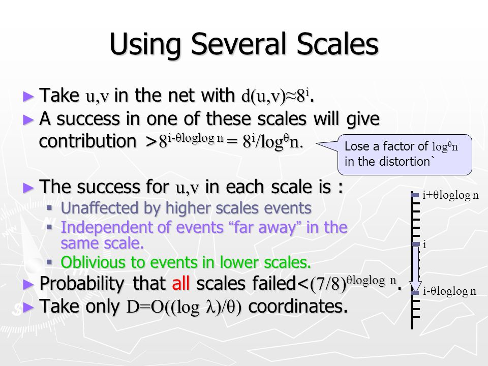 Using Several Scales Take u,v in the net with d(u,v)8 i.