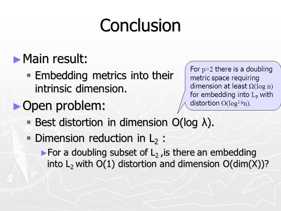 Conclusion Main result: Main result: Embedding metrics into their intrinsic dimension.
