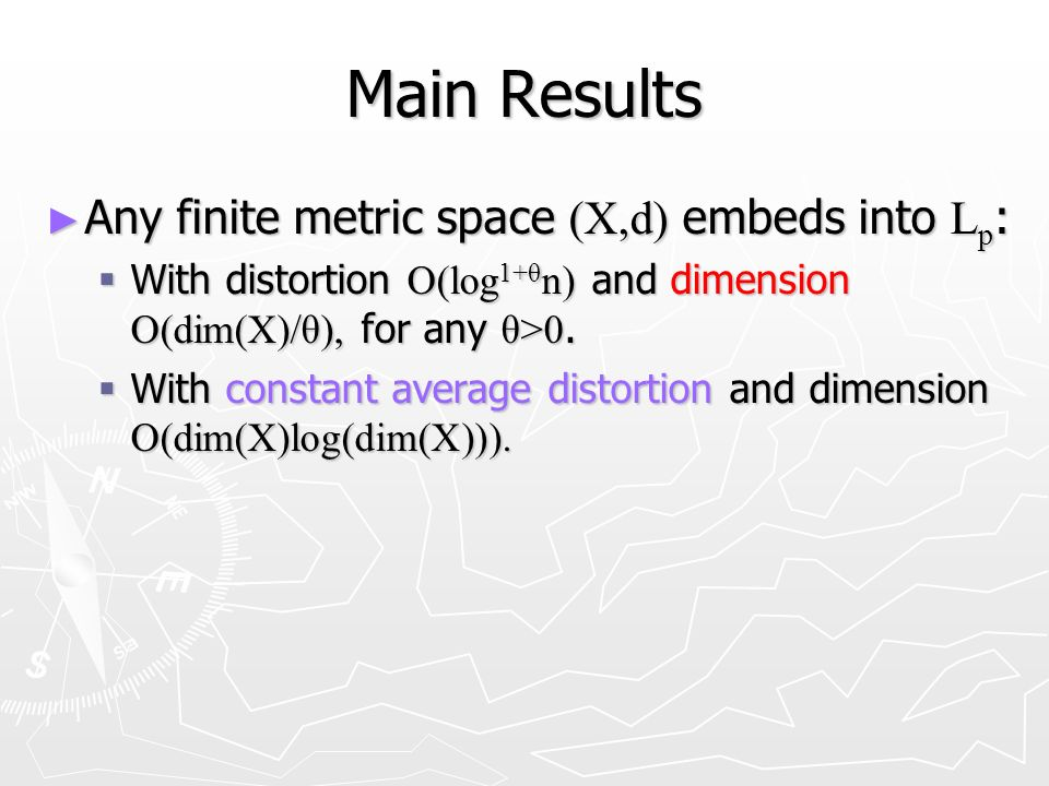 Main Results Any finite metric space (X,d) embeds into L p : Any finite metric space (X,d) embeds into L p : With distortion O(log 1+θ n) and dimension O(dim(X)/θ), for any θ>0.