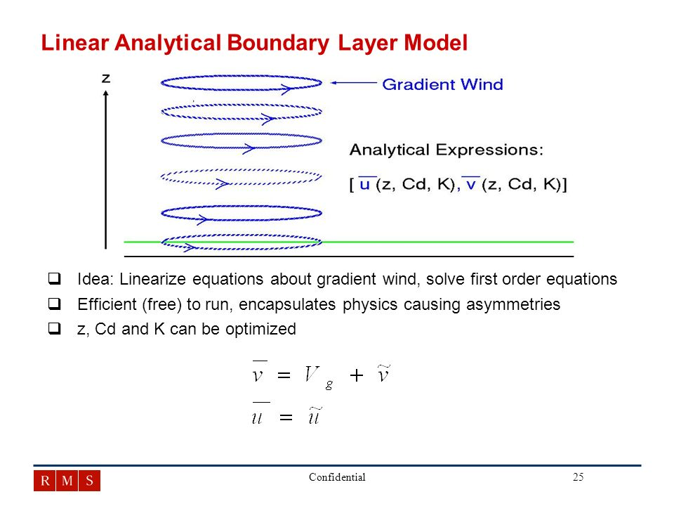 25Confidential Linear Analytical Boundary Layer Model q qIdea: Linearize equations about gradient wind, solve first order equations q qEfficient (free) to run, encapsulates physics causing asymmetries q qz, Cd and K can be optimized