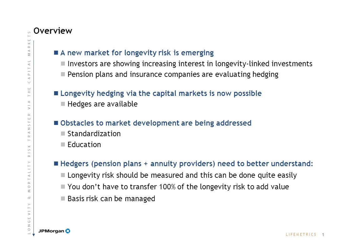 L I F E M E T R I C SL I F E M E T R I C S Overview A new market for longevity risk is emerging Investors are showing increasing interest in longevity