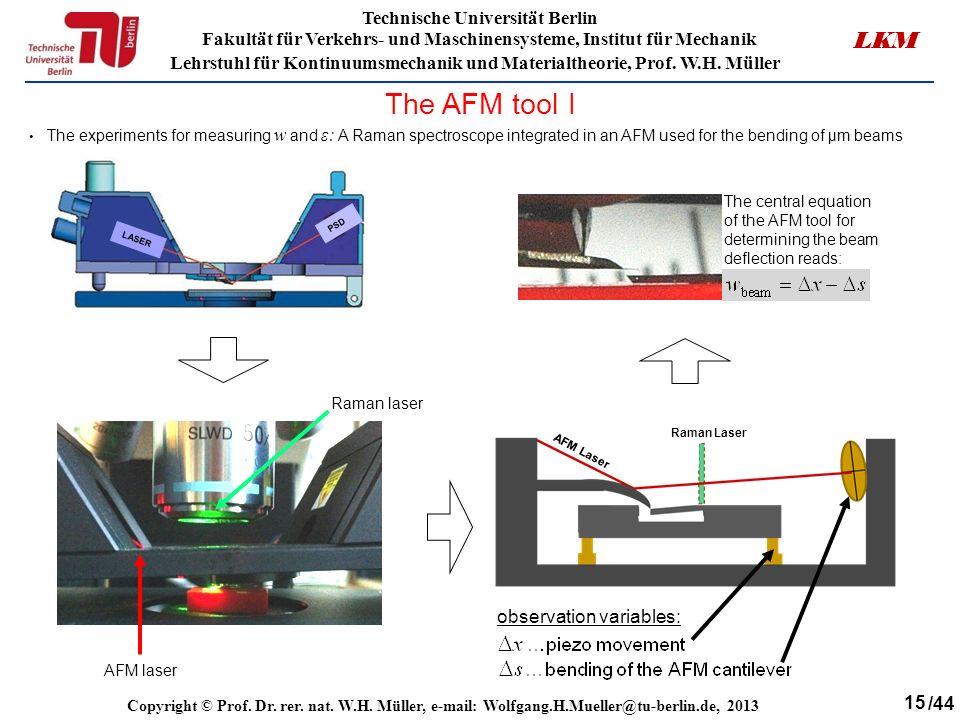 15 Technische Universität Berlin Fakultät für Verkehrs- und Maschinensysteme, Institut für Mechanik Lehrstuhl für Kontinuumsmechanik und Materialtheorie, Prof.