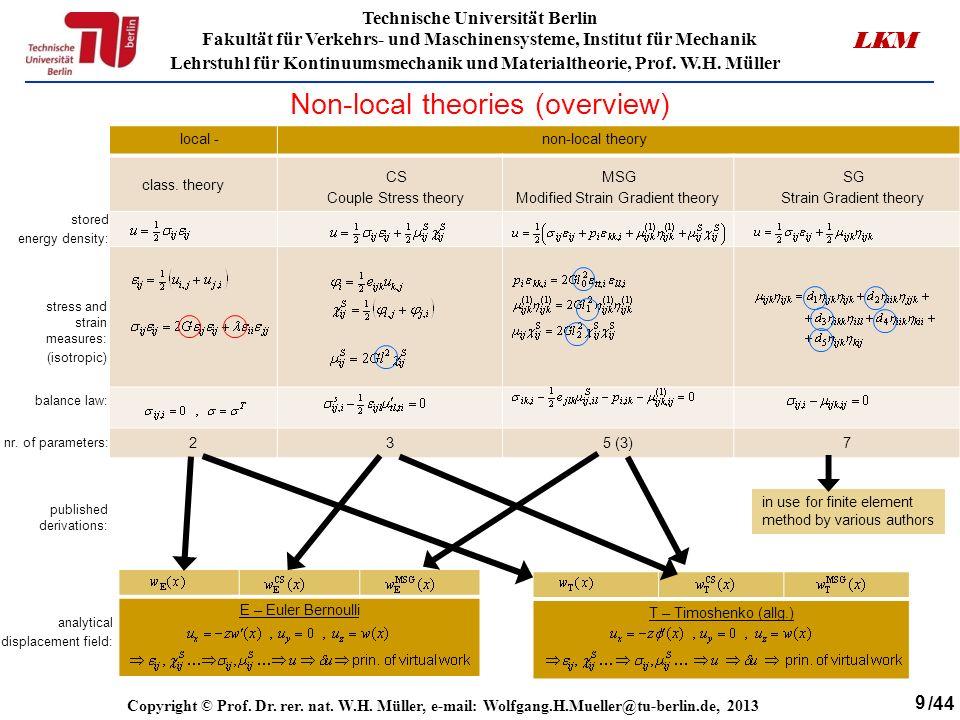 9 Technische Universität Berlin Fakultät für Verkehrs- und Maschinensysteme, Institut für Mechanik Lehrstuhl für Kontinuumsmechanik und Materialtheorie, Prof.