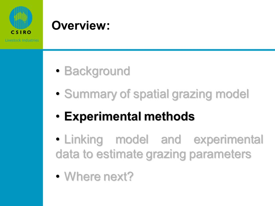 BackgroundBackground Summary of spatial grazing modelSummary of spatial grazing model Experimental methodsExperimental methods Linking model and experimental data to estimate grazing parametersLinking model and experimental data to estimate grazing parameters Where next?Where next.