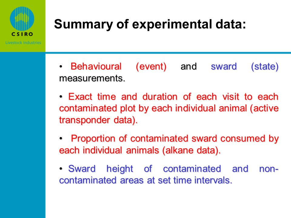 Summary of experimental data: Behavioural (event) and sward (state) measurements.