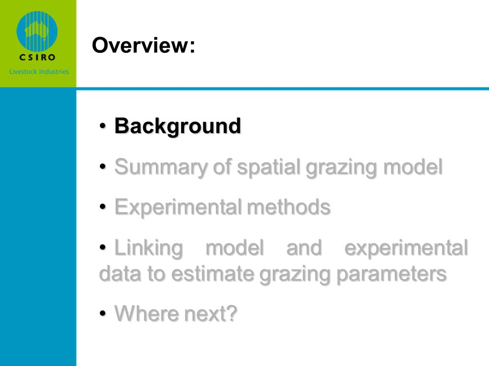 BackgroundBackground Summary of spatial grazing modelSummary of spatial grazing model Experimental methodsExperimental methods Linking model and experimental data to estimate grazing parametersLinking model and experimental data to estimate grazing parameters Where next Where next.