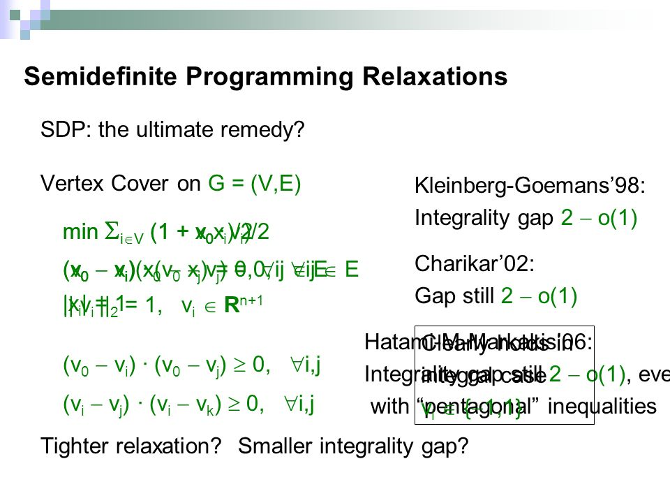 SDP: the ultimate remedy. Vertex Cover on G = (V,E) Tighter relaxation.