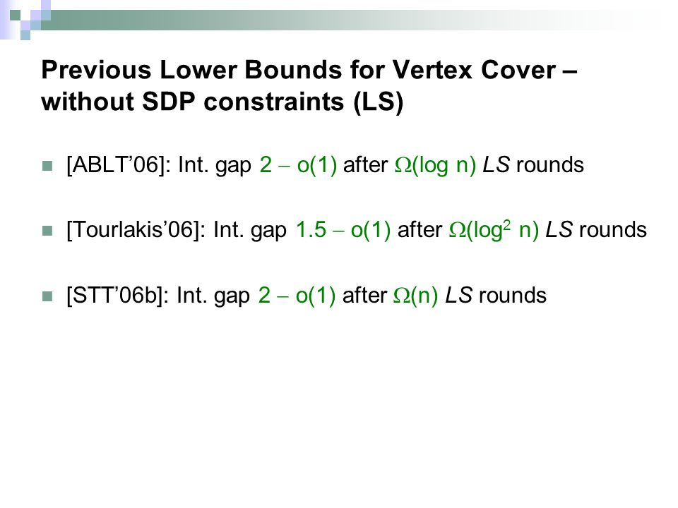 Previous Lower Bounds for Vertex Cover – without SDP constraints (LS) [ABLT06]: Int.