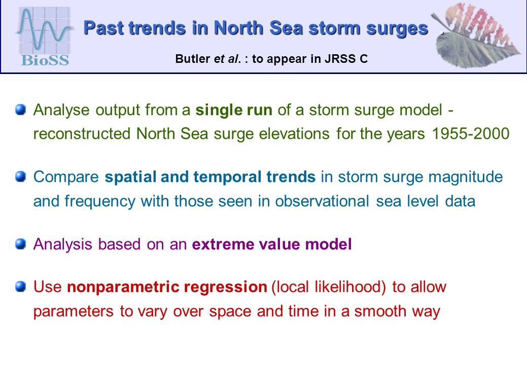 Past trends in North Sea storm surges.