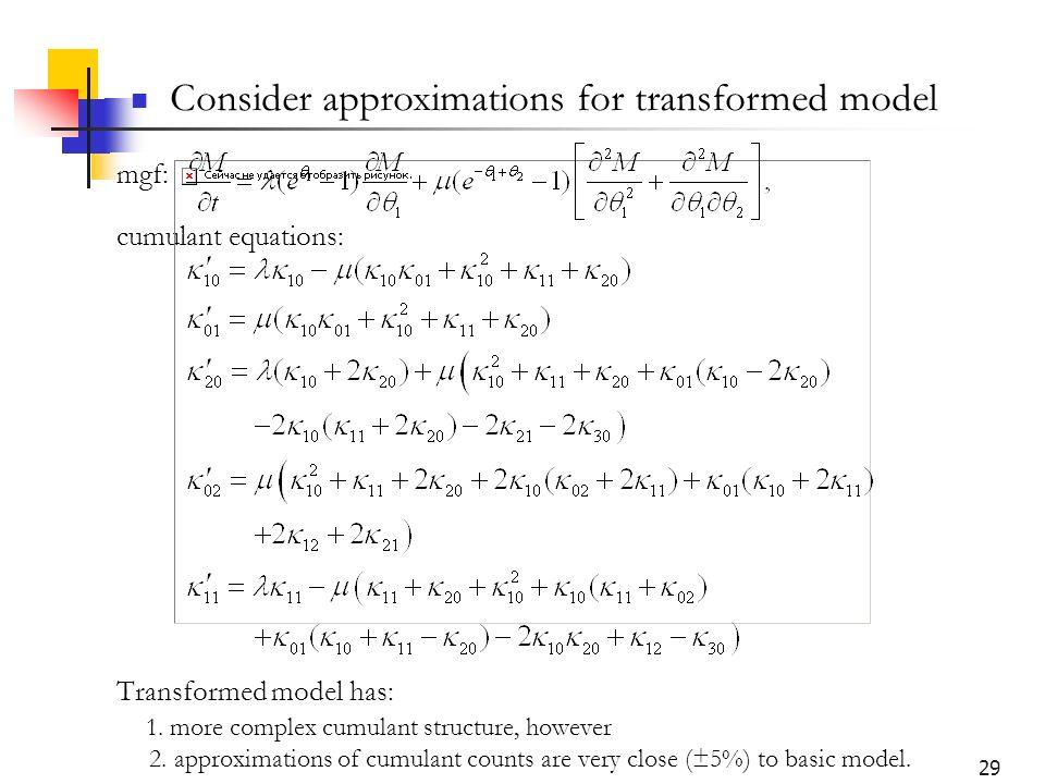 29 mgf: cumulant equations: Transformed model has: 1.