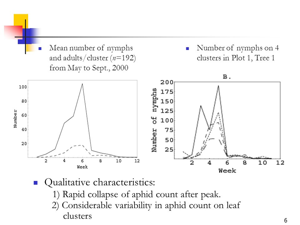 6 Qualitative characteristics: 1) Rapid collapse of aphid count after peak.