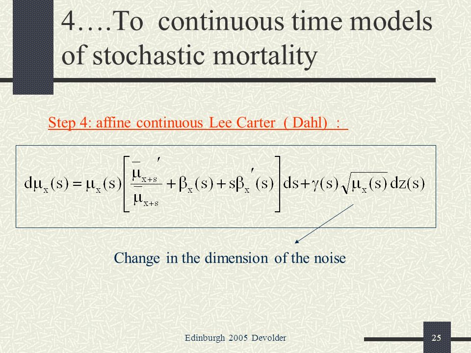 Edinburgh 2005 Devolder25 4….To continuous time models of stochastic mortality Step 4: affine continuous Lee Carter ( Dahl) : Change in the dimension of the noise