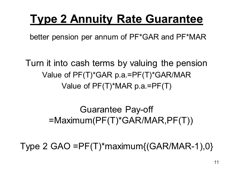 11 Type 2 Annuity Rate Guarantee better pension per annum of PF*GAR and PF*MAR Turn it into cash terms by valuing the pension Value of PF(T)*GAR p.a.=PF(T)*GAR/MAR Value of PF(T)*MAR p.a.=PF(T) Guarantee Pay-off =Maximum(PF(T)*GAR/MAR,PF(T)) Type 2 GAO =PF(T)*maximum{(GAR/MAR-1),0}