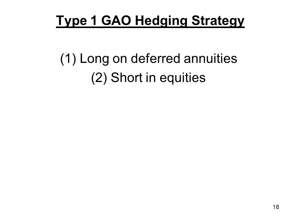 16 Type 1 GAO Hedging Strategy (1) Long on deferred annuities (2) Short in equities