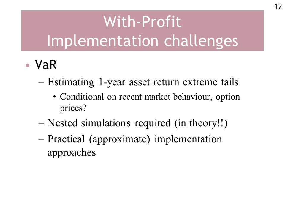 12 With-Profit Implementation challenges VaR –Estimating 1-year asset return extreme tails Conditional on recent market behaviour, option prices.