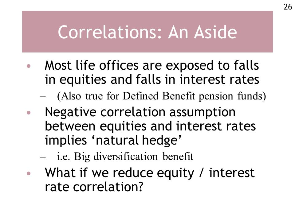 26 Correlations: An Aside Most life offices are exposed to falls in equities and falls in interest rates –(Also true for Defined Benefit pension funds) Negative correlation assumption between equities and interest rates implies natural hedge –i.e.