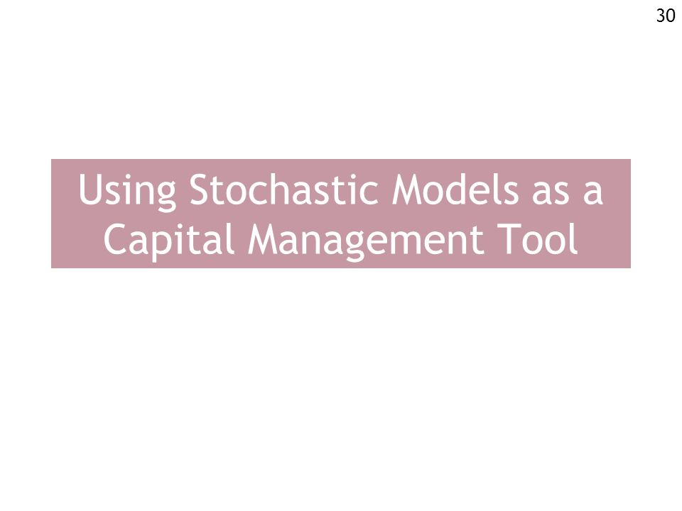 30 Using Stochastic Models as a Capital Management Tool