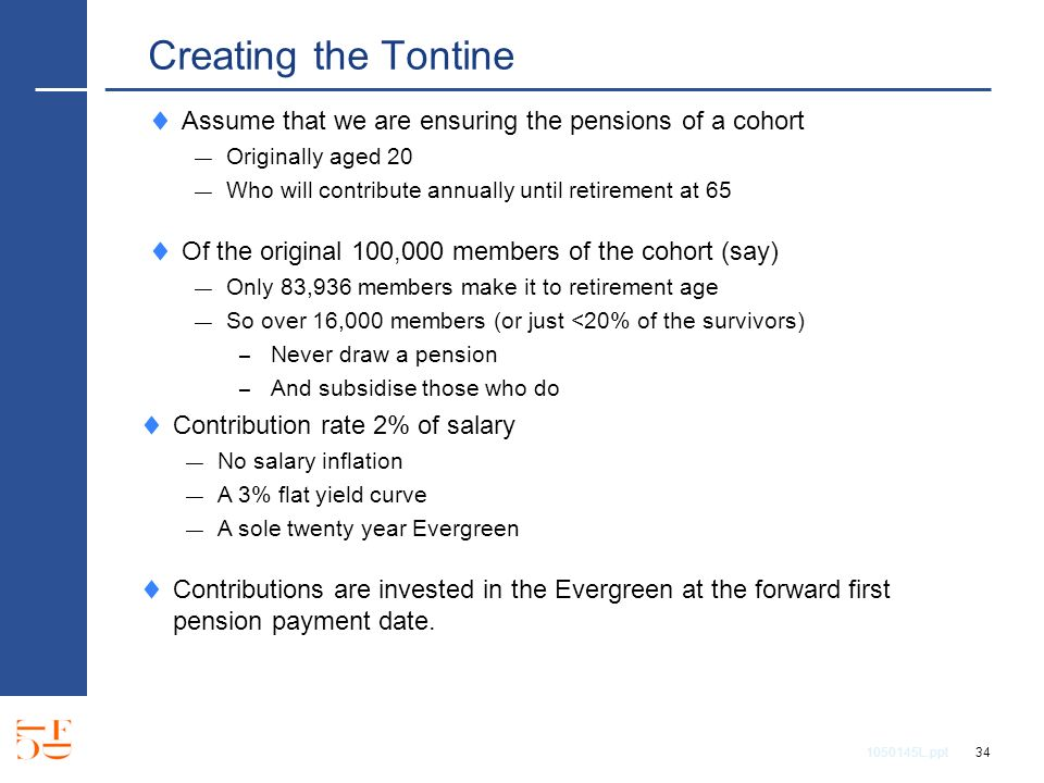 1050145L.ppt 34 Creating the Tontine Assume that we are ensuring the pensions of a cohort Originally aged 20 Who will contribute annually until retirement at 65 Of the original 100,000 members of the cohort (say) Only 83,936 members make it to retirement age So over 16,000 members (or just <20% of the survivors) – Never draw a pension – And subsidise those who do Contribution rate 2% of salary No salary inflation A 3% flat yield curve A sole twenty year Evergreen Contributions are invested in the Evergreen at the forward first pension payment date.