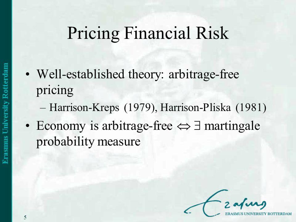 5 Pricing Financial Risk Well-established theory: arbitrage-free pricing –Harrison-Kreps (1979), Harrison-Pliska (1981) Economy is arbitrage-free mart