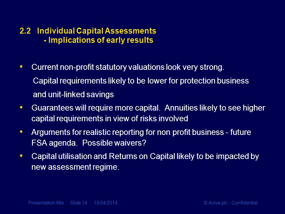 © Aviva plc - ConfidentialPresentation title Slide 14 15/04/2014 2.2 Individual Capital Assessments - Implications of early results Current non-profit