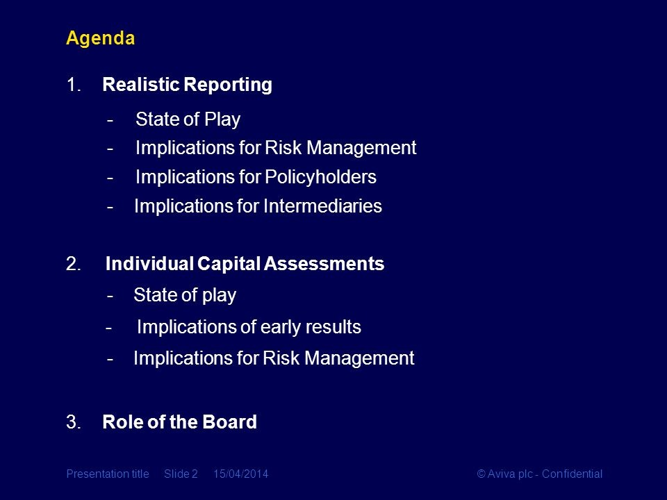 © Aviva plc - ConfidentialPresentation title Slide 2 15/04/2014 Agenda 1. Realistic Reporting -State of Play -Implications for Risk Management -Implic
