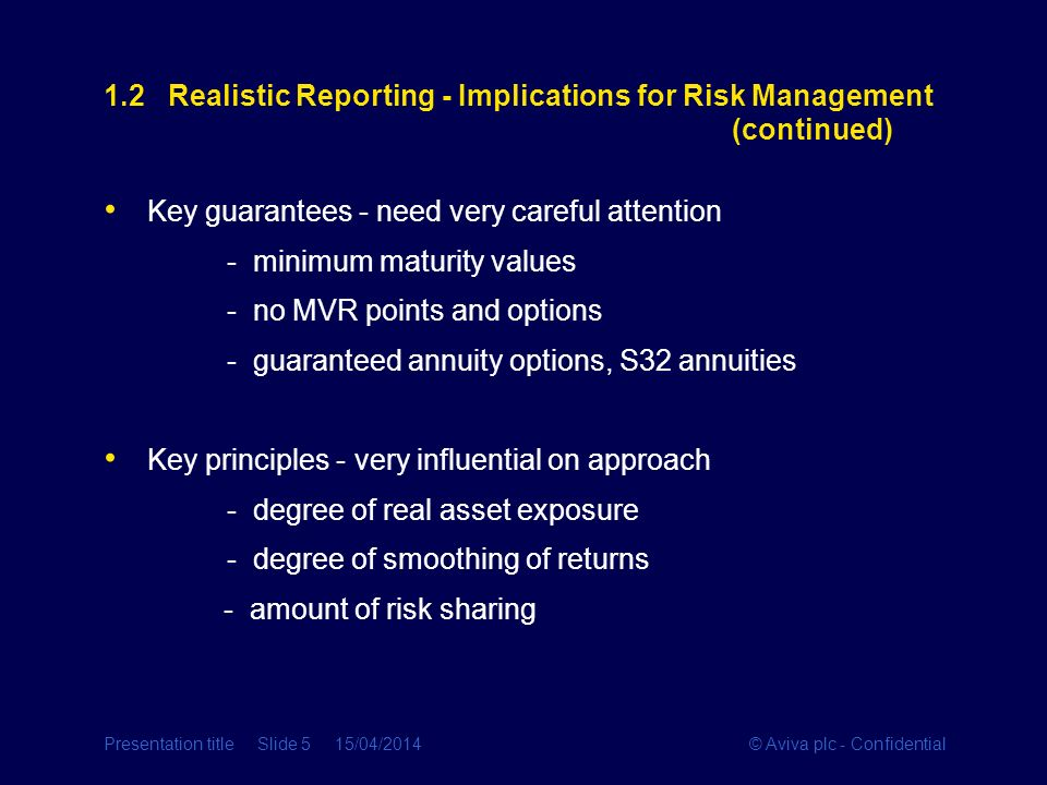 © Aviva plc - ConfidentialPresentation title Slide 5 15/04/2014 1.2 Realistic Reporting - Implications for Risk Management (continued) Key guarantees