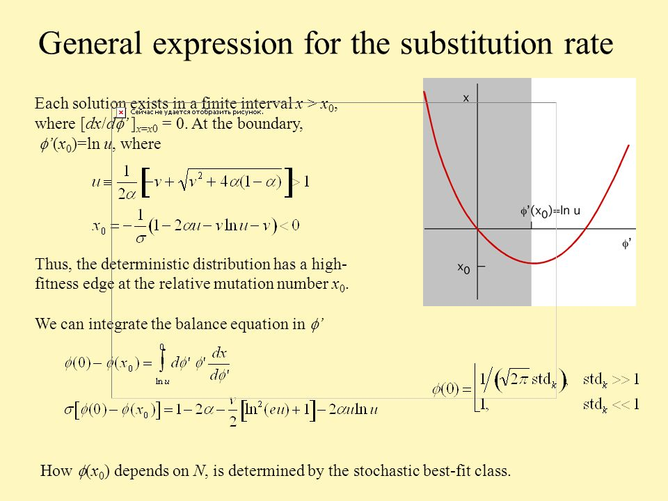 General expression for the substitution rate Each solution exists in a finite interval x > x 0, where [dx/d ] x=x0 = 0.
