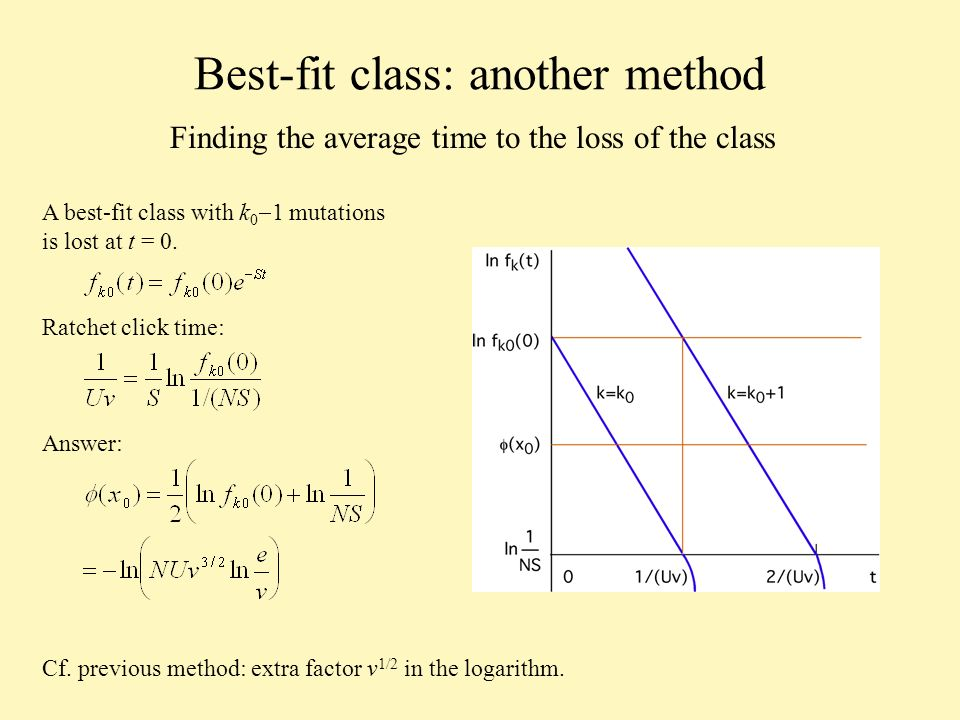 Best-fit class: another method Finding the average time to the loss of the class A best-fit class with k 0 1 mutations is lost at t = 0.