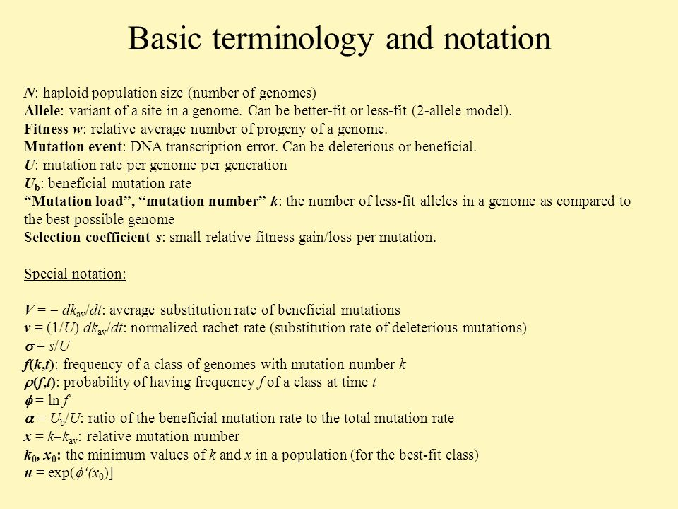 Fixation of beneficial alleles: v < 0 Deleterious mutations are not important in the general formula for v, if The result simplifies to (Rouzine et al 2003): Compare to the ratchet result: Because U is no longer important, we return to notation s, U b,and V=-vU: The high-fitness tail length, the edge derivative, and the distribution maximum: and 1 otherwise.