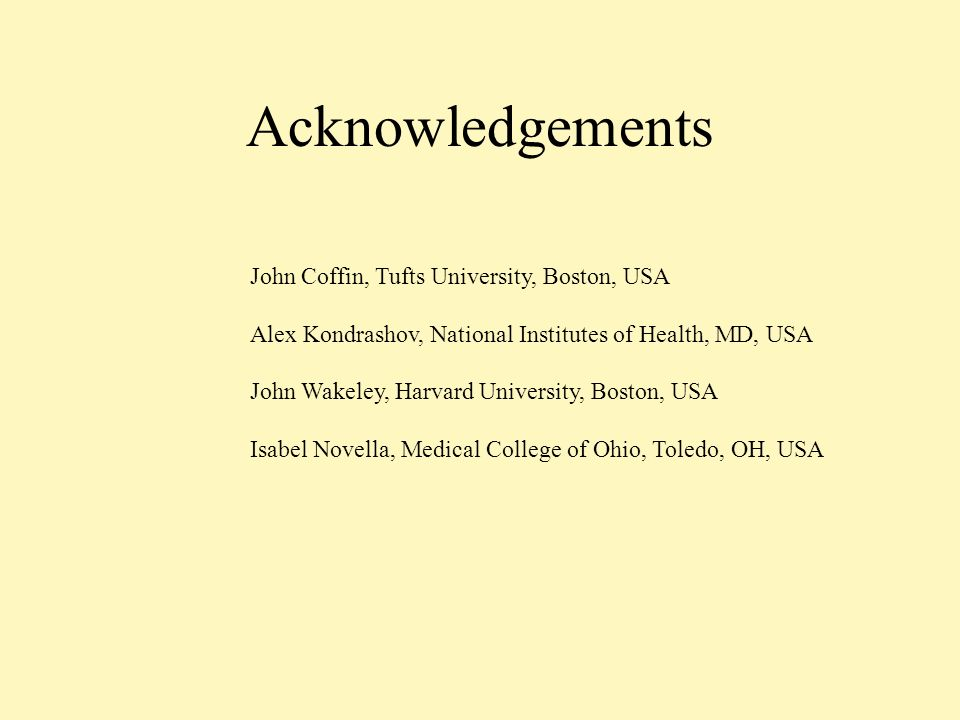 Acknowledgements John Coffin, Tufts University, Boston, USA Alex Kondrashov, National Institutes of Health, MD, USA John Wakeley, Harvard University, Boston, USA Isabel Novella, Medical College of Ohio, Toledo, OH, USA