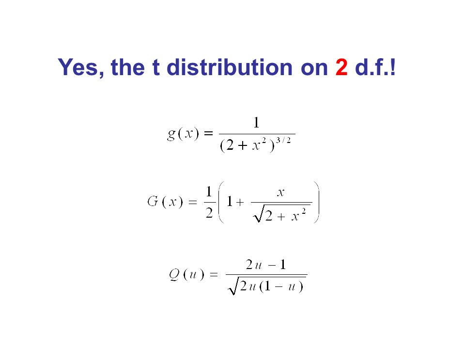 Yes, the t distribution on 2 d.f.!