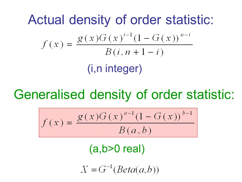 Actual density of order statistic: Generalised density of order statistic: (i,n integer) (a,b>0 real)