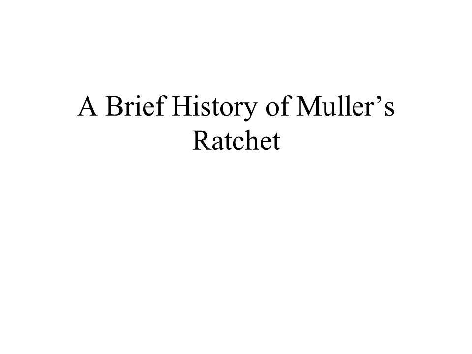 A Brief History of Mullers Ratchet
