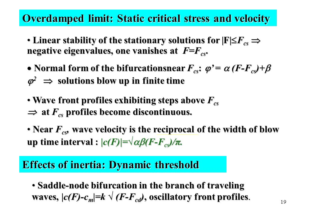 19 Overdamped limit: Static critical stress and velocity Linear stability of the stationary solutions for |F| F cs negative eigenvalues, one vanishes