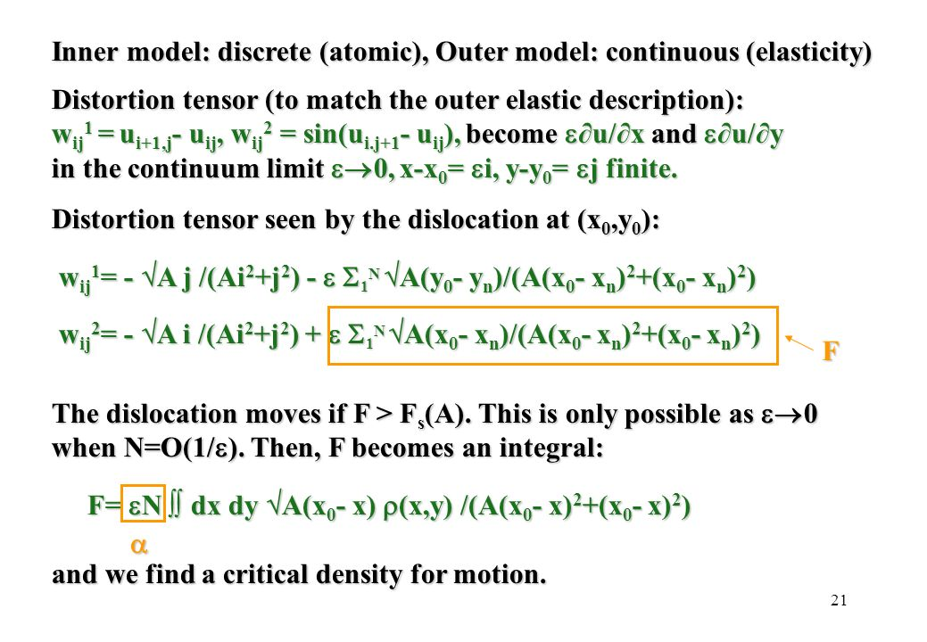 21 Inner model: discrete (atomic), Outer model: continuous (elasticity) Distortion tensor (to match the outer elastic description): w ij 1 = u i+1,j -