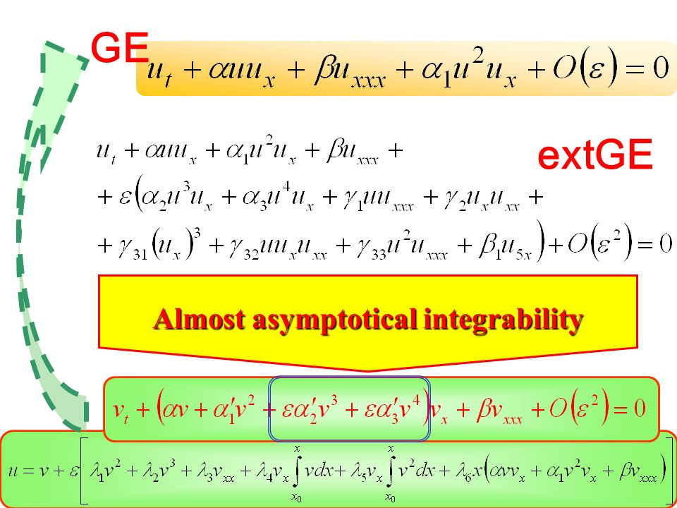 Almost asymptotical integrability GE extGE