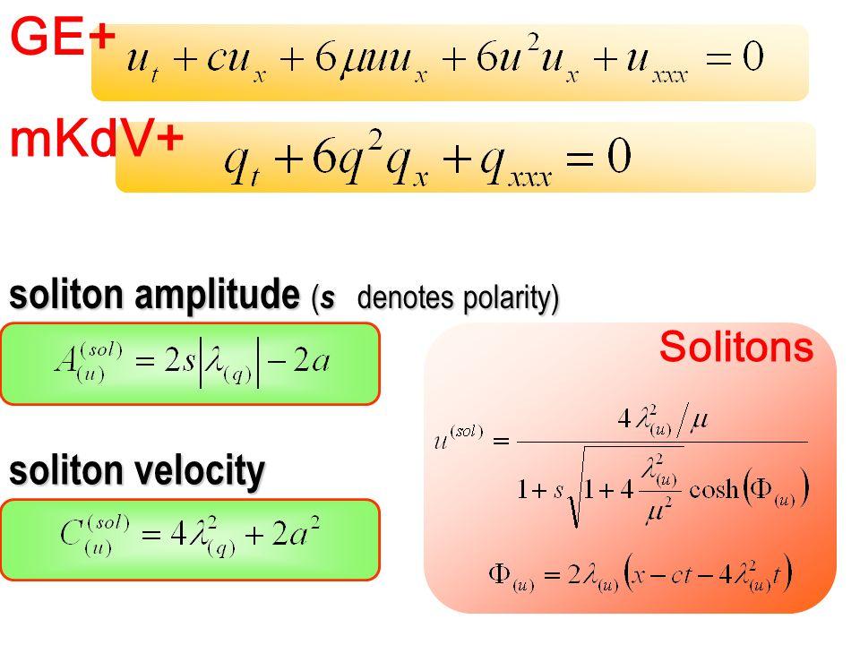 GE+ mKdV+ soliton amplitude ( s denotes polarity) soliton velocity Solitons