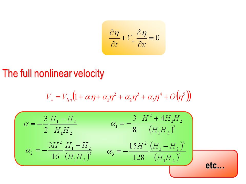 etc… The full nonlinear velocity
