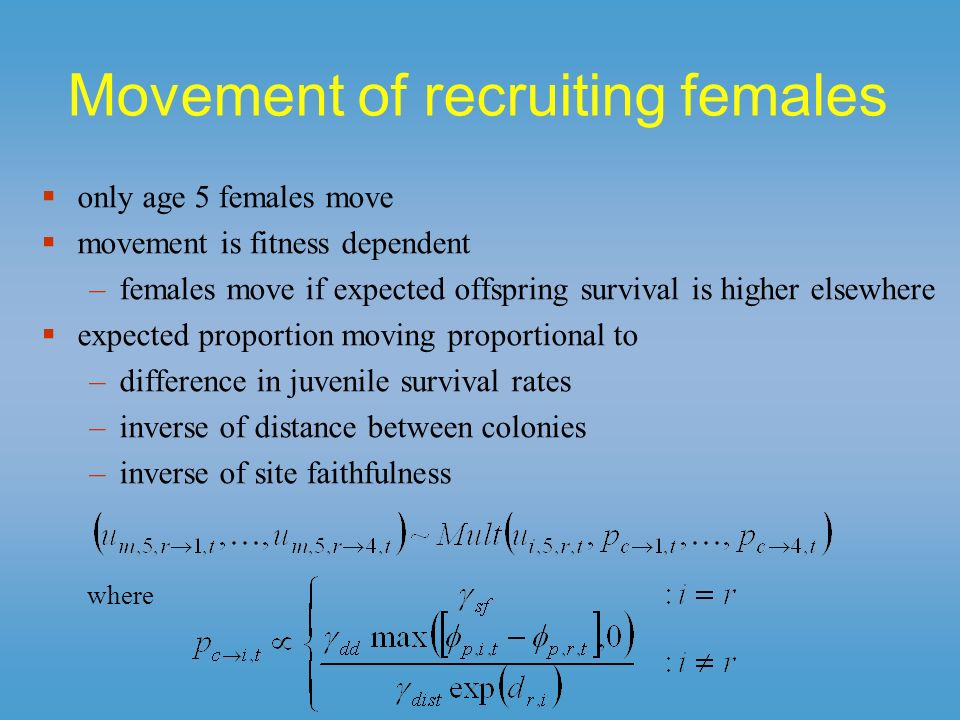 Movement of recruiting females only age 5 females move movement is fitness dependent –females move if expected offspring survival is higher elsewhere