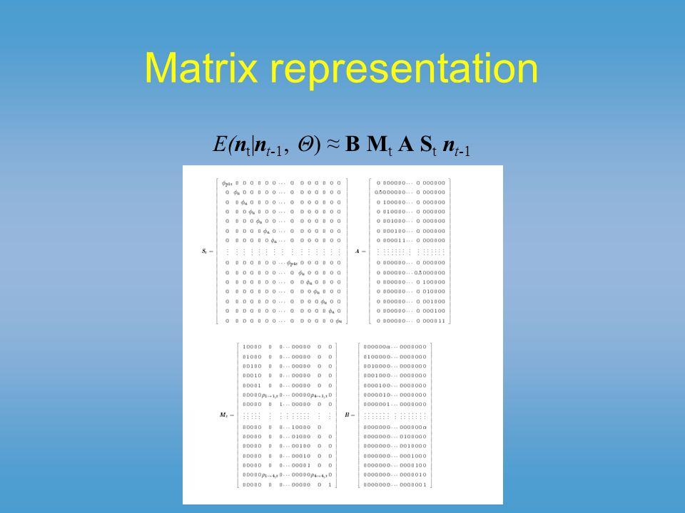 Matrix representation E(n t |n t-1, Θ) B M t A S t n t-1