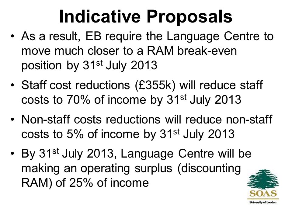 Indicative Proposals EB felt that the best way of achieving this would be to look at the structure of the Language Centre and possible staff cost reductions sooner rather than later The suggestion would be for around £220k of the staff savings to be made by 31 st July 2011 and in some ways, this would be best achieved, certainly for support functions, in time for the start of the 2010/11 session Income generating activities, it was recognised, might take longer to come to fruition