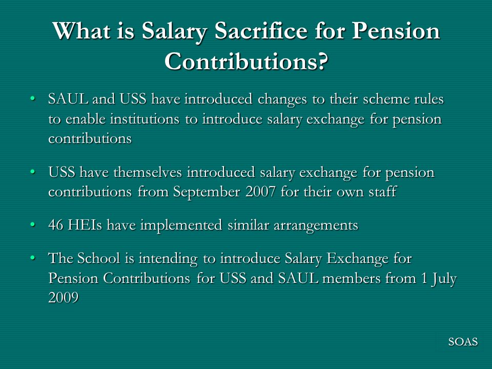 What is Salary Sacrifice for Pension Contributions.