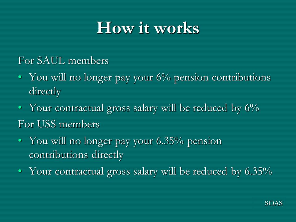 How it works For SAUL members You will no longer pay your 6% pension contributions directlyYou will no longer pay your 6% pension contributions directly Your contractual gross salary will be reduced by 6%Your contractual gross salary will be reduced by 6% For USS members You will no longer pay your 6.35% pension contributions directlyYou will no longer pay your 6.35% pension contributions directly Your contractual gross salary will be reduced by 6.35%Your contractual gross salary will be reduced by 6.35% SOAS
