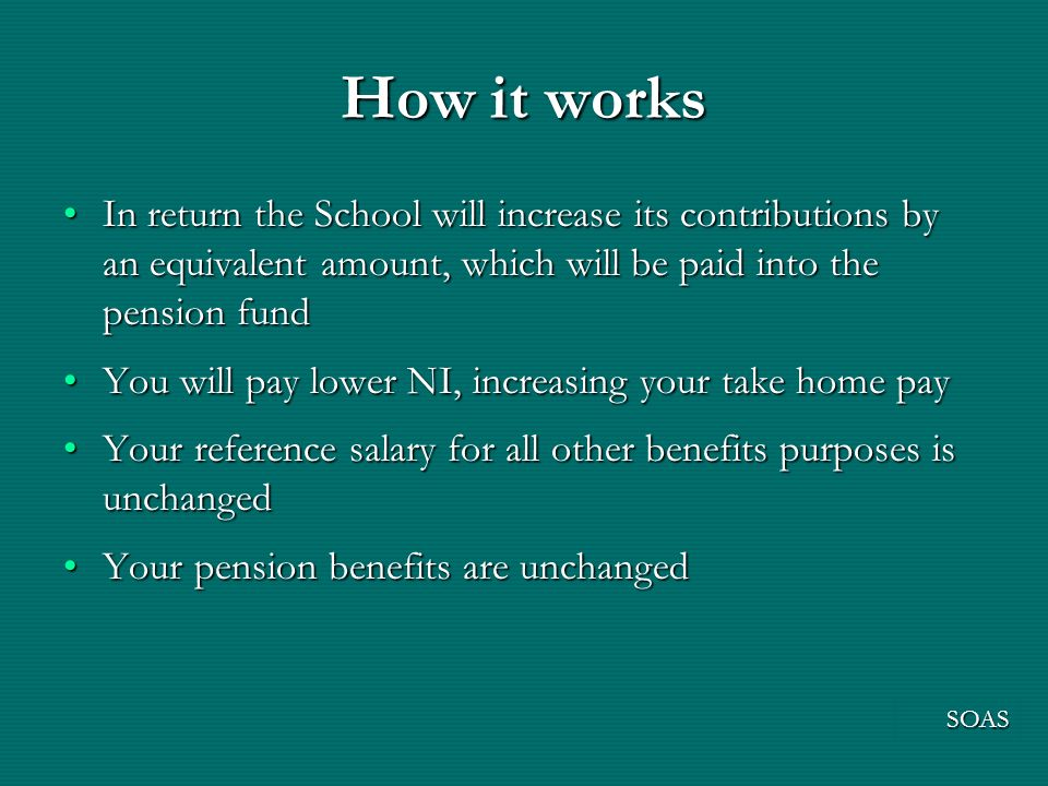 How it works In return the School will increase its contributions by an equivalent amount, which will be paid into the pension fundIn return the School will increase its contributions by an equivalent amount, which will be paid into the pension fund You will pay lower NI, increasing your take home payYou will pay lower NI, increasing your take home pay Your reference salary for all other benefits purposes is unchangedYour reference salary for all other benefits purposes is unchanged Your pension benefits are unchangedYour pension benefits are unchanged SOAS