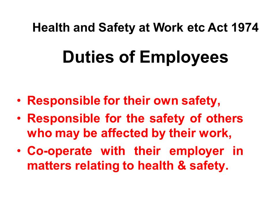 Duties of Employees Responsible for their own safety, Responsible for the safety of others who may be affected by their work, Co-operate with their employer in matters relating to health & safety.