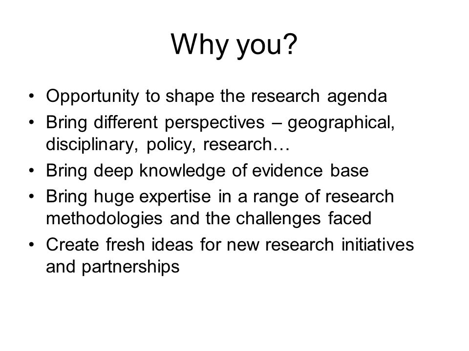 Why you? Opportunity to shape the research agenda Bring different perspectives – geographical, disciplinary, policy, research… Bring deep knowledge of