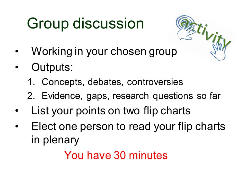 Group discussion Working in your chosen group Outputs: 1.Concepts, debates, controversies 2.Evidence, gaps, research questions so far List your points