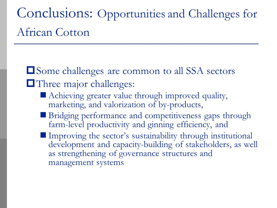 Conclusions: Opportunities and Challenges for African Cotton Some challenges are common to all SSA sectors Three major challenges: Achieving greater value through improved quality, marketing, and valorization of by-products, Bridging performance and competitiveness gaps through farm-level productivity and ginning efficiency, and Improving the sectors sustainability through institutional development and capacity-building of stakeholders, as well as strengthening of governance structures and management systems